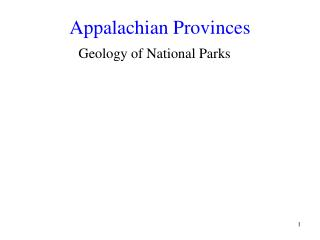 Appalachian Provinces