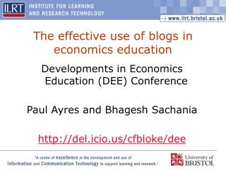 The effective use of blogs in economics education