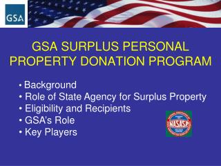 GSA SURPLUS PERSONAL PROPERTY DONATION PROGRAM