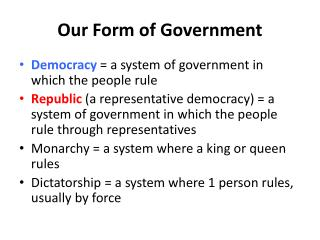 Our Form of Government