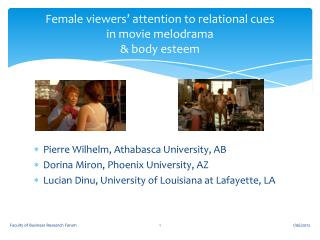 Female viewers� attention to relational cues  in movie melodrama & body esteem
