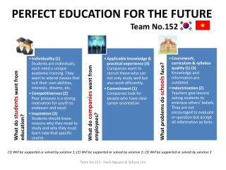 PERFECT EDUCATION FOR THE FUTURE Team No.152