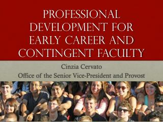 Professional development for early career and contingent faculty