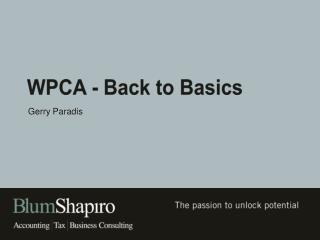 WPCA - Back to Basics