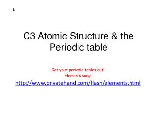 C3 Atomic Structure & the Periodic table