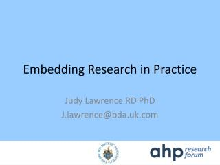 Embedding Research in Practice
