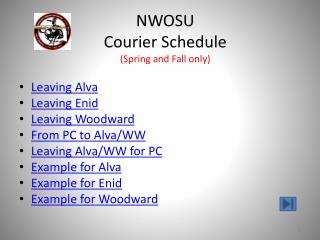 NWOSU Courier Schedule (Spring and Fall only)
