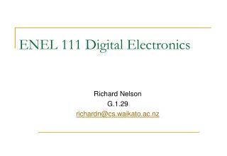 ENEL 111 Digital Electronics