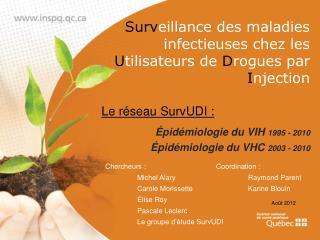 Surv eillance des maladies infectieuses chez les  U tilisateurs de  D rogues par  I njection