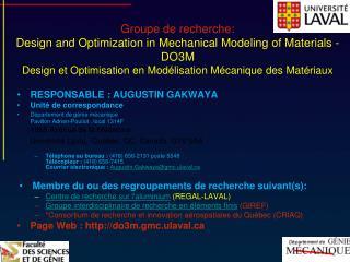 Groupe de recherche:  Design and Optimization in Mechanical Modeling of Materials - DO3M Design et Optimisation en Mod l