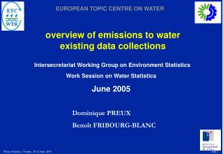 overview of emissions to water existing data collections