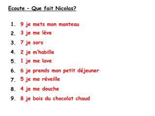 Ecoute � Que fait Nicolas?
