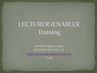 LECTURER  iENABLER Training