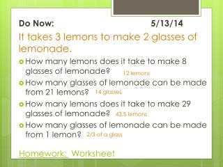 Homework:  Worksheet