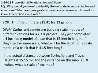 1-16-13  Proportional Relationships and Slope