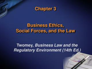 Chapter 3 Business Ethics,  Social Forces, and the Law
