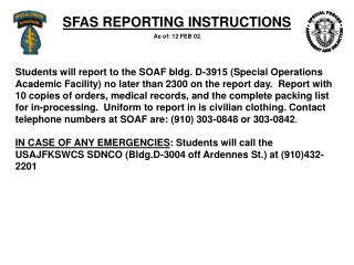 SFAS REPORTING INSTRUCTIONS