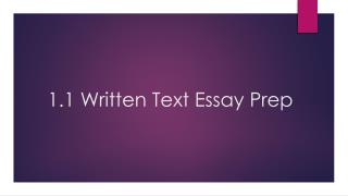 1.1 Written Text Essay Prep
