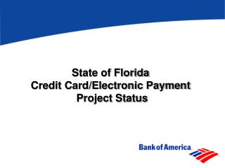 State of Florida  Credit Card/Electronic Payment  Project Status