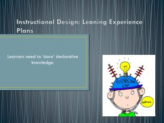 Instructional Design: Leaning Experience Plans