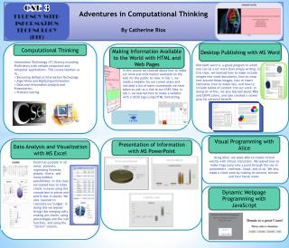 Adventures in Computational Thinking By Catherine Rios