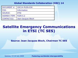 Satellite Emergency Communications in ETSI (TC SES)