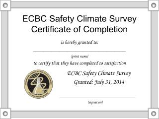 ECBC Safety Climate Survey Certificate of Completion