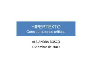 HIPERTEXTO Consideraciones críticas