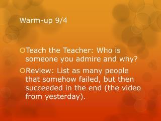 Warm-up  9/4