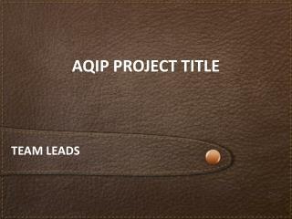 AQIP PROJECT TITLE