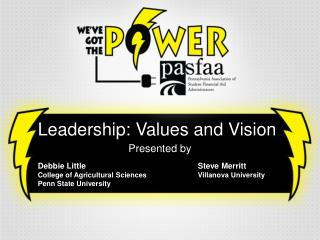 Leadership: Values and Vision Presented  by Debbie LittleSteve Merritt