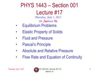 PHYS 1443 – Section 001 Lecture  # 17