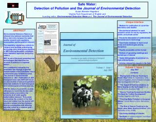 Safe Water:  Detection of Pollution and the  Journal of Environmental Detection
