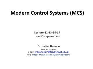 Modern  Control  Systems (MCS)