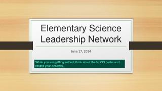 Elementary Science Leadership Network