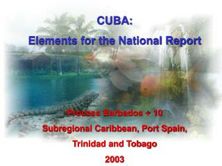 CUBA:  Elements for the National Report Process Barbados + 10 Subregional Caribbean, Port Spain,
