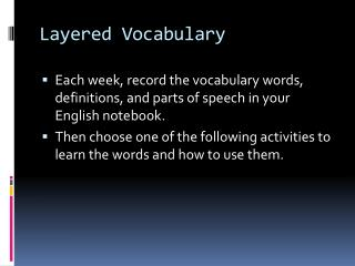 Layered Vocabulary
