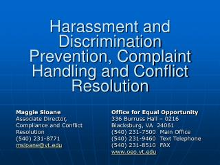Harassment and Discrimination Prevention, Complaint Handling and Conflict Resolution