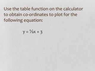 Starter: Plot the following graphs y  =  5x  –  3 y  =  2 y  =  -2x  +  1 x  =  -3