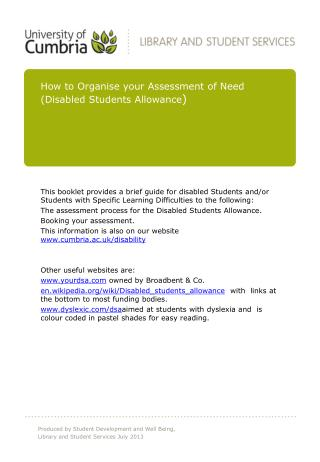 How to Organise your Assessment of Need  (Disabled Students Allowance )
