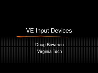 VE Input Devices