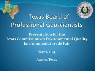 Texas Board of  Professional  Geoscientists