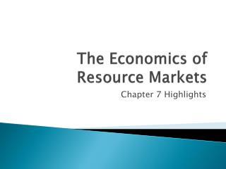 The Economics of Resource Markets