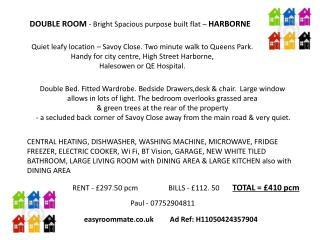 DOUBLE ROOM - Bright Spacious purpose built flat –  HARBORNE