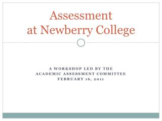 Assessment  at  Newberry College