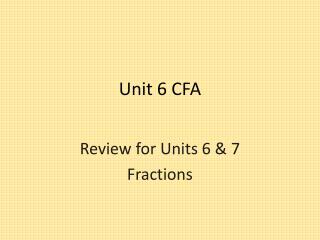Unit 6 CFA