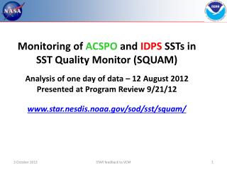 Monitoring of  ACSPO and  IDPS SSTs in  SST  Quality Monitor (SQUAM )