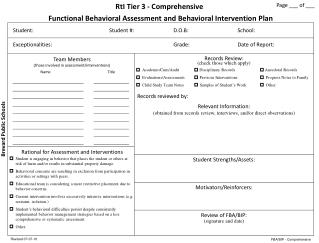 Functional  Behavioral  Assessment  and Behavioral Intervention  Plan