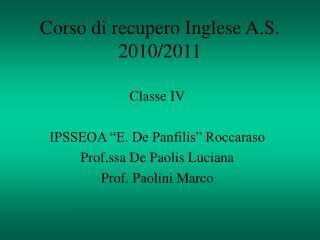Corso di recupero Inglese A.S. 2010/2011