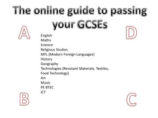The online guide to passing your  GCS E s